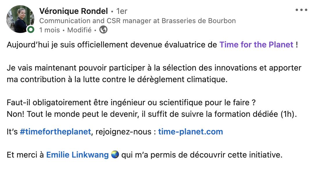 Aujourd'hui je suis officiellement devenue évaluatrice de Time for the Planet ! It's #timefortheplanet, rejoignez-nous : time-planet.com Et merci à Emilie Linkwang 🌏 qui m'a permis de découvrir cette initiative.
